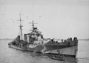 Action off Cape Bougaroun - HMS Colombo in July 1943.