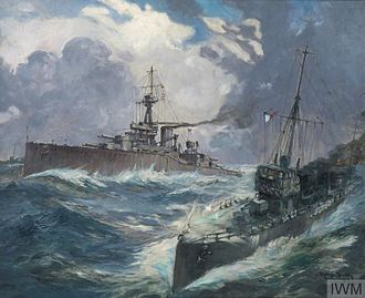 HMS Conqueror (1911) - Painting of Conqueror and an escorting destroyer by Robert Henry Smith, 1915