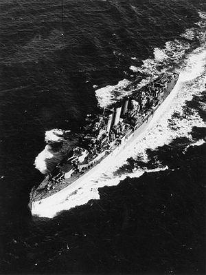 HMS Devonshire (39) - Devonshire underway following her 1944 refit
