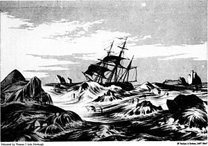 David Buchan - HMS Trent in dangerous waters, 7 June 1818, in Arctic expeditions from British and foreign shores by D. Murray Smith