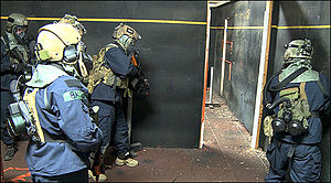 Close quarters combat - FBI HRT (Hostage Rescue Team) operators prepare to storm a room during CQC exercises.