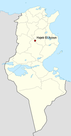 map showing the location of  Hadjeh-El-Aïoun a town in Tunisia