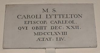 Charles Lyttelton (bishop) - St John the Baptist Church, Hagley, memorial to Bishop Charles Lyttelton