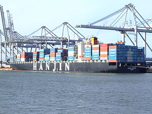Hanjin Budapest IMO 9312937, at the Amazone harbour, Port of Rotterdam, Holland 14-Jan-2007.jpg