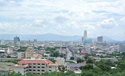 View of Hat-Yai from Wat Khok Nao pagoda tower.