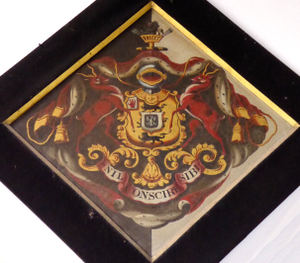 Sir Henry Carew, 7th Baronet - Funerary hatchment of Sir Henry Carew, 7th Baronet in Haccombe Church, showing heraldic achievement of Carew (with canton Red Hand of Ulster)  with inescutcheon of pretence of Palk (Sable, an eagle displayed argent beaked and legged or a bordure engrailed of the second)
