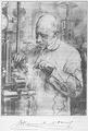 Heike Kamerlingh Onnes - 36 - Kamerlingh Onnes at work in his cryogenic laboratory; drawing Menso Kamerlingh Onnes, 1904 Physics laboratory (Natuurkundig Laboratorium), Steenschuur, Leiden.png