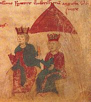 Henry VI.  and Constance of Sicily (from Liber ad honorem Augusti by Petrus de Ebulo, 1196)