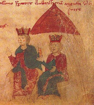Constance, Queen of Sicily - Henry VI and Constance of Sicily (from Liber ad Honorem Augusti by Peter of Eboli, 1196)