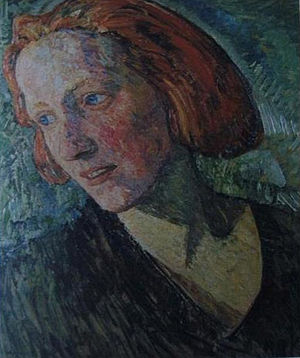 """Marie Griesbach - Painting of Marie Griesbach as """"Die rote Marie"""" (Red Marie) by Heinrich Vogeler, 1919"""