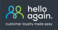 Hello again logo with claim, dark background.png