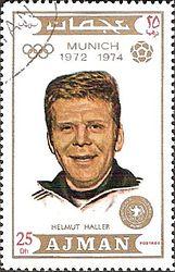 Helmut Haller 1971 Ajman stamp