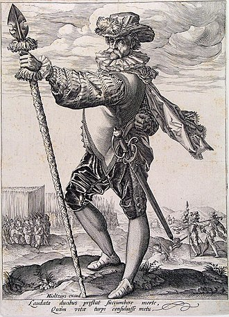 Landsknecht - In this engraving by Hendrick Goltzius the massed pike formation is seen at the rear