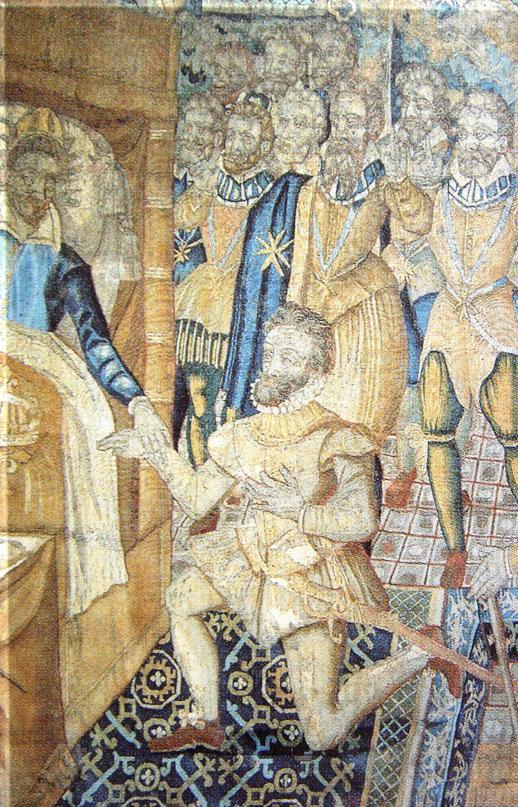 Henry III on his deathbed designating Henri de Navarre as his successor
