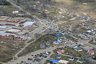 Tornado outbreak of March 2–3, 2012 - Aerial view of EF4 damage from the tornado in Henryville.
