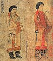 Hephthalite ambassadors (白題 Baiti and 滑 Uar ethnicities) at the Chinese court of Emperor Yuan of Liang in Jingzhou in 526-539 CE, Portraits of Periodical Offering of Liang 11th century Song copy.jpg