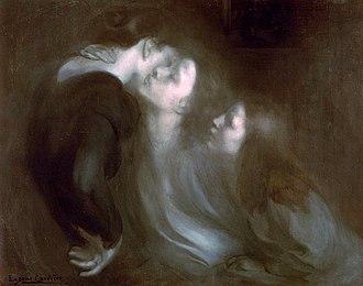 Académie de La Palette - Eugène Carrière, 1899, Le Réveil, Le Baiser à la mère (Her Mother's Kiss), oil on canvas, 94 x 120 cm, Pushkin Museum, Moscow