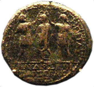 Claudius - A coin of Herod of Chalcis, showing him with his brother Agrippa of Judaea crowning Claudius. British Museum.