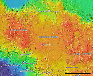 Hesperia Planum - MOLA colorized relief map of Hesperia Planum region. Hesperia Planum has fewer impact craters than the surrounding Noachian highlands of Tyrrhena Terra and Terra Cimmeria. This indicates that the plain is younger than its more heavily cratered surroundings. Colors indicate elevation, with red highest, yellow intermediate, and blue lowest.