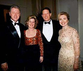 Tipper and Al with then-President Bill Clinton and then-First Lady, now Senator, Hillary Rodham Clinton