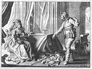 Hipparchia of Maroneia - Engraving of Hipparchia and Crates from the Touchstone of the Wedding Ring by Jacob Cats. Depicted in 17th-century clothing, Crates tries to dissuade Hipparchia from her affections for him by pointing to his head to show how ugly he is