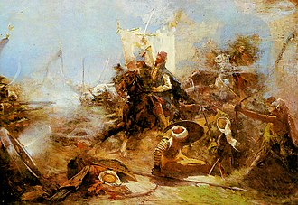Croats - Zrínyi's charge on the Turks from the Fortress of Szigetvár, by Simon Hollósy