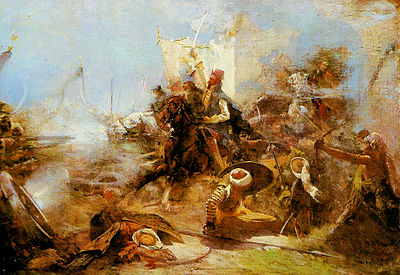 Zrinyi's charge on the Turks from the Fortress of Szigetvar, by Simon Hollosy Hollosy Zrinyi kirohanasa.jpg