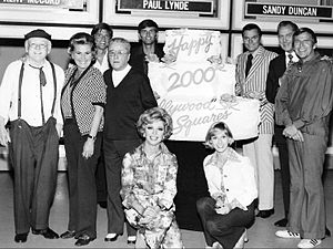 The Hollywood Squares - The 2000th show in 1974. Back row, L-R: Cliff Arquette as Charley Weaver, Rose Marie, John Davidson, George Gobel, Kent McCord, Peter Marshall, Vincent Price, and Paul Lynde. Front row: Ruta Lee and Sandy Duncan.
