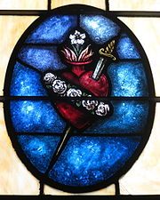 Holy Family Catholic Church (North Baltimore, Ohio) - stained glass, Immaculate Heart.jpg