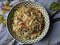 Homemade Japchae with mixed capsicum, mushroom, meat, carrot with rice noodles 06.jpg