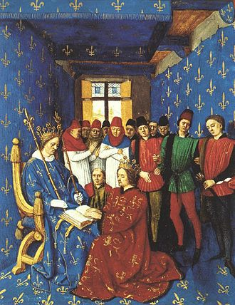 Hundred Years' War - Homage of Edward I of England (kneeling) to Philip IV of France (seated), 1286. As Duke of Aquitaine, Edward was also a vassal to the French King. Illumination by Jean Fouquet from the Grandes Chroniques de France in the Bibliothèque Nationale de France, Paris.