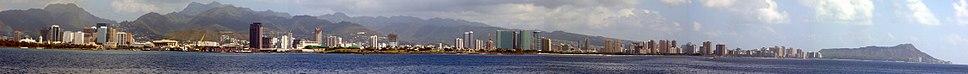 Panorama of Honolulu's waterfront in February 2007.