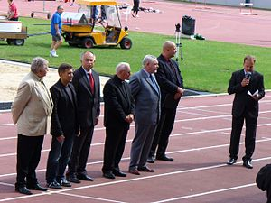 Tadeusz Pieronek - Bishop Pieronek (centre in Roman collar) as a member of the Athletics Honorary Committee in Poland.