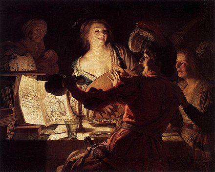 Prostitution is clearly indicated in this scene by Gerard van Honthorst of 1623, complete with aged procuress, low cleavage, and a feathered headdress on the second girl. Honthorst, Gerard van - Merry Company - 1623.jpg