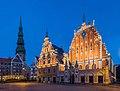 House of Blackheads and St. Peter's Church Tower, Riga, Latvia - 17 September 2014.jpg