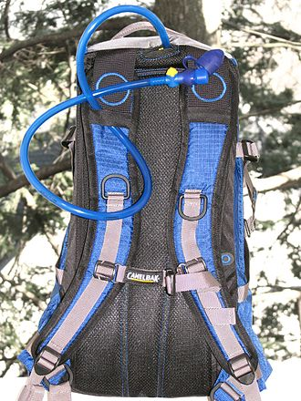 CamelBak - An example of a civilian CamelBak pack. The blue tube coming off the top enables the wearer to drink from the internal water bladder without removing the pack.