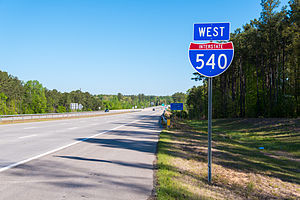 Interstate 540 and North Carolina Highway 540 - I-540 West, near Knightdale