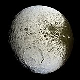Crater Engelier on Saturn's muin Iapetus