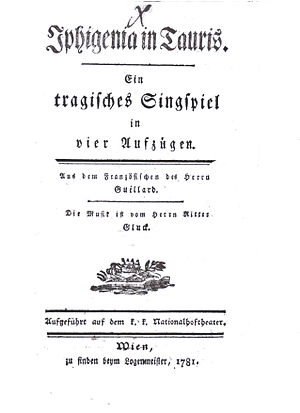 Iphigénie en Tauride - Title page of the German libretto of Iphigénie en Tauride