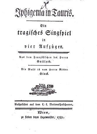 Iphigénie en Tauride (Gluck) - Title page of the German libretto of Iphigénie en Tauride
