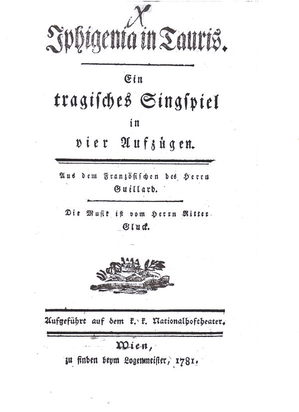 Title Page Of The German Libretto Iphigenie En Tauride