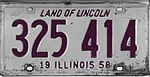 Illinois 1958 license plate - Number 325 414.jpg