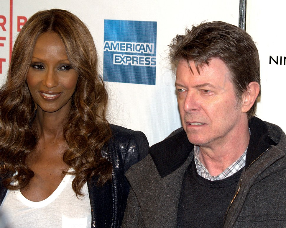 Iman and David Bowie at the premiere of Moon