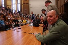 Imre Kertész (1929-) Hungarian writer was on the University of Szeged in 2007. Photo by Csaba Segesvári.JPG