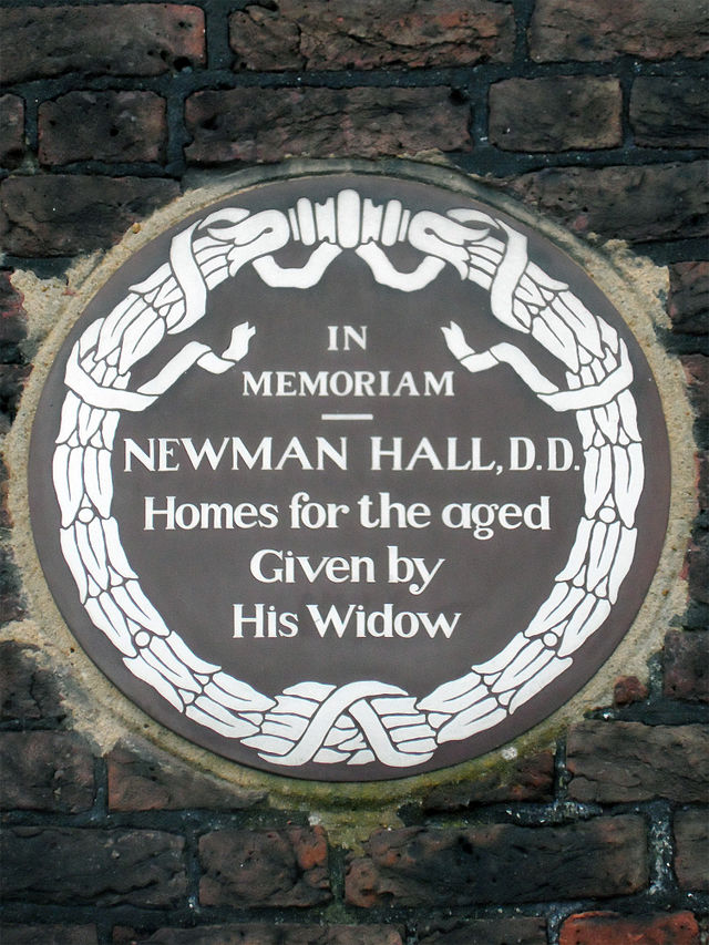 Christopher Newman Hall brown plaque - In memoriam Newman Hall, D.D. homes for the aged given by his widow
