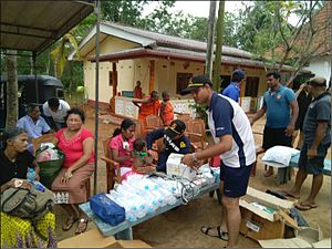 2017 Sri Lanka floods - An Indian Navy medical team assisting in relief operations.