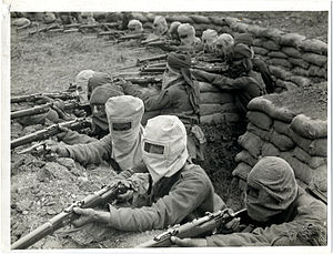 Hypo helmet - Indian troops wearing Hypo helmets in a posed photograph, August 1915