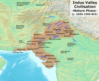 Indus Valley Civilisation during 2600-1900 BCE, the mature phase Indus Valley Civilization, Mature Phase (2600-1900 BCE).png