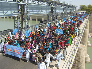 Indus River Delta - Pakistanis march from March 2nd to March 14th, 2010, calling for the rehabilitation of the Indus river delta.