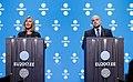 Informal meeting of defence ministers (FAC). Press conference Federica Mogherini and Jüri Luik (36687787120).jpg